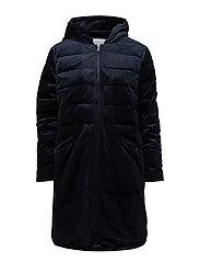 Long velvet fake down jacket - DARK BLUE