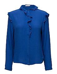 Moss crepe shirt w. ruffle - MOROCCAN BLUE