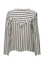 Stripe top w. ruffle - FOREST STRIPE OFF WHITE