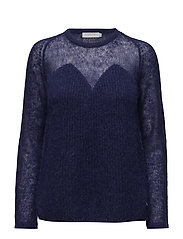 Thin and thick kid mohair knit top - GRAPE