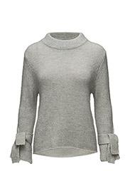 Knit sweater w. tie band cuff - LIGHT CONCRETE MELANGE