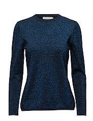 Knit lurex top w. long sleeve - MOROCCAN BLUE LUREX