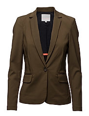 Suit jacket w. rib - DARK OLIVE