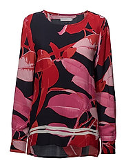 Moss crepe blouse w. Branch print & - BRANCH PRINT AND DARK BLUE