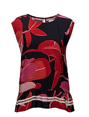 Moss crepe top w. Branch print & st - BRANCH PRINT AND DARK BLUE