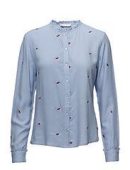 Shirt w. Blot embroidery - SKY BLUE
