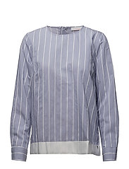 Striped shirt blouse w. ribbon edge - MID BLUE