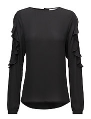 Blouse w. lace details in sleeve - BLACK