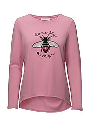 Sweatshirt w. Bee embroidery - FLAMINGO