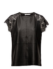 Leather/Heavy Jersey top w.lace sle - BLACK
