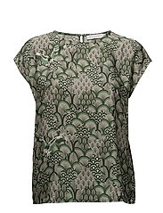 Cupro top w. Japanese waves print - JAPANESE WAVES GREEN