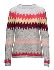 Icelandic striped mohair sweater - LIGHT GREY MELANGE AND STRIPES