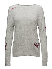 Mohair knit w. embroidery - LIGHT GREY MELANGE