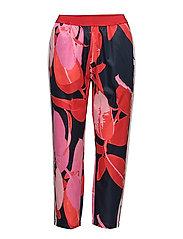 Trousers w. Branch print & stripe - BRANCH PRINT AND DARK BLUE
