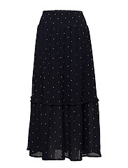 Skirt w. embroidered stars - DARK BLUE W GOLD STARS