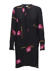 Shirt dress w. Mokuren print - MOKUREN