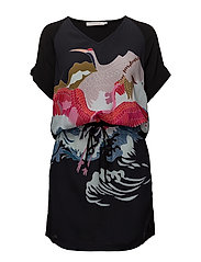 Dress w. cranes print - BLACK AND CRANES PRINT