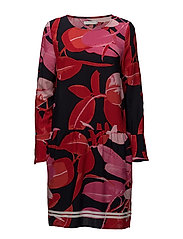 Moss crepe dress w. Branch print & - BRANCH PRINT AND DARK BLUE