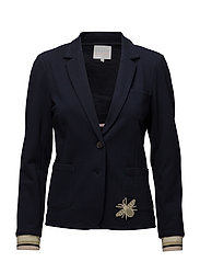Heavy jersey suit jacket w. appliqu - DARK BLUE