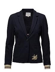 Heavy jersey suit jacket w. appliqu - DARK BLUE