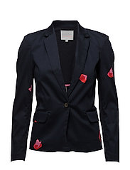 Suit jacket w. Blot print - DARK BLUE SPOT PRINT