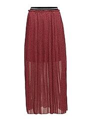 Skirt w. plissé and leopard print - LEOPARD PRINT DARK SALMON
