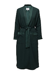 Long jacket w. shawl collar - EMERALD GREEN