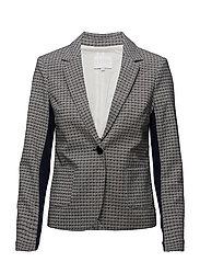 Jacket w. ruffle cuff - BLUE JACQUARD