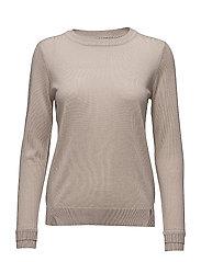 Round neck knit top merino (Basic) - BEIGE
