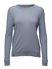 Round neck knit top merino (Basic) - LIGHT BLUE