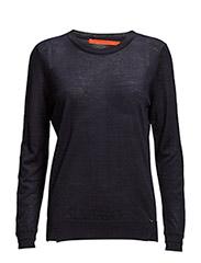 Round neck knit top merino (Basic) - NAVY