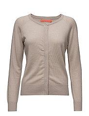Round neck knit cardigan merino (Ba - BEIGE