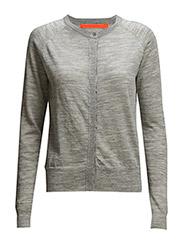 Round neck knit cardigan merino (Ba - LIGHT GREY MELANGE