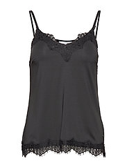 Strap top w. lace - BLACK
