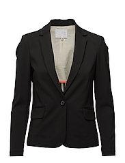 Jacket w. rib at side - BLACK