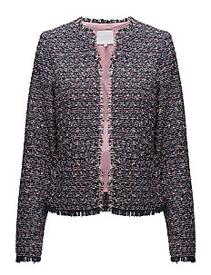 Boucle jacket - DARK BLUE AND PINK