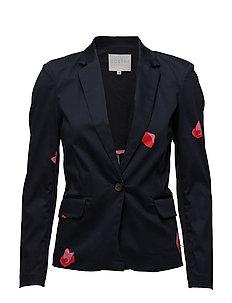Suit jacket w. Blot print - DARK BLUE SPOT PRINT