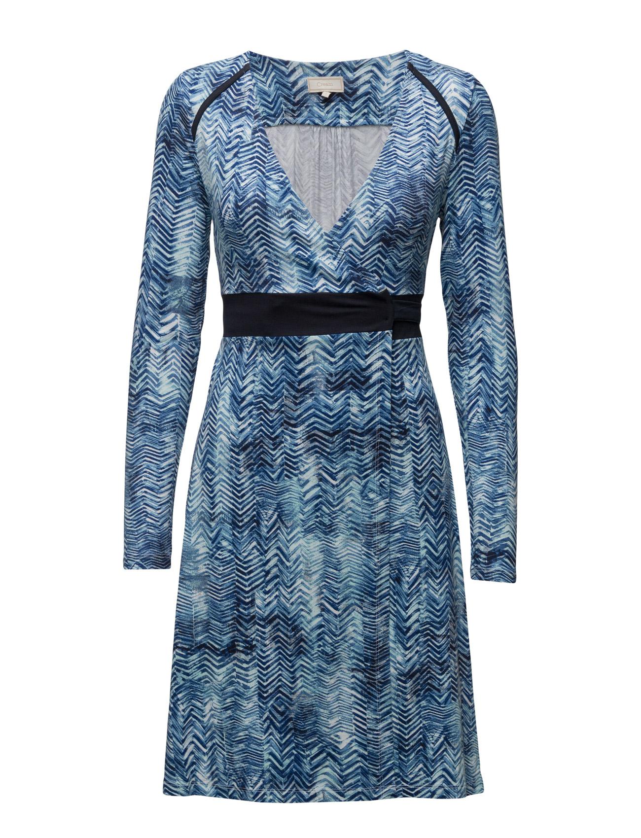 Carola Dress Cream Knælange & mellemlange til Damer i Royal Navy Blå