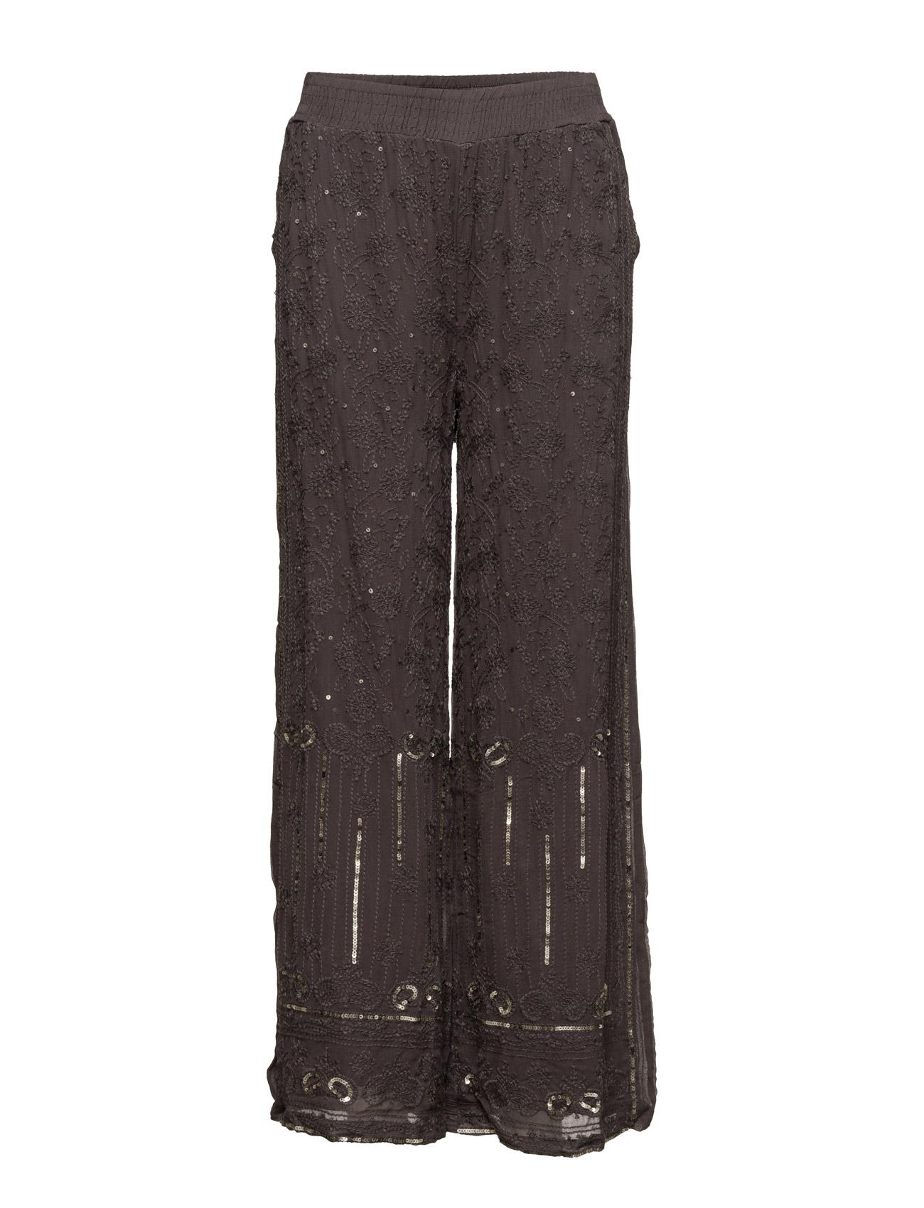 Luxa Pants Cream Trompetbukser til Damer i Mørkegrå