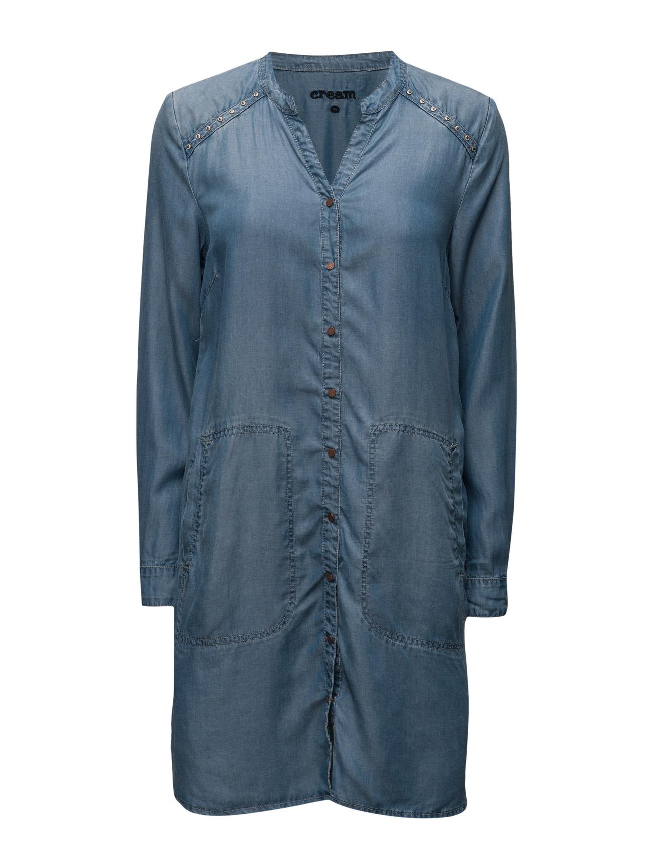 Gilly Shirt Dress Cream Knælange & mellemlange til Damer i Lyseblå Denim