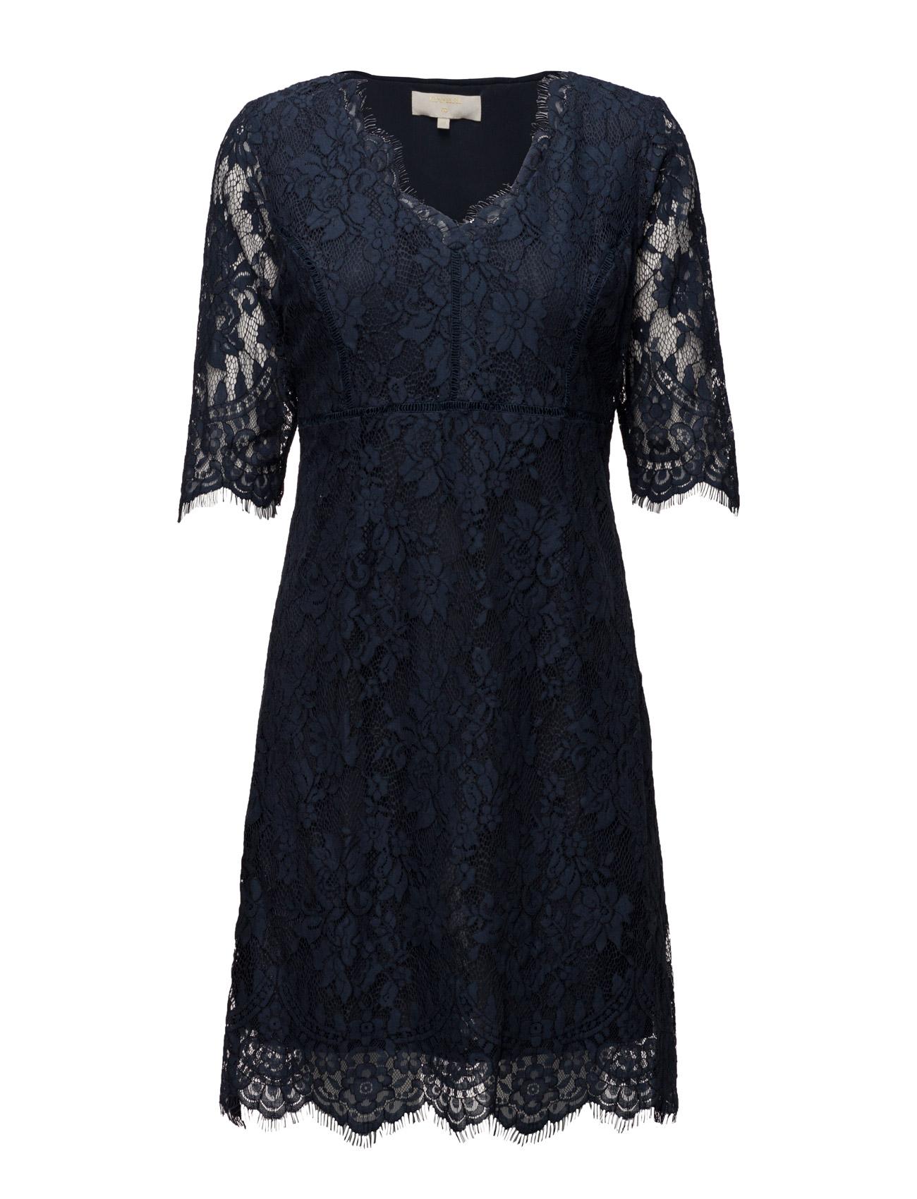 Adriana Lace Dress Cream Korte kjoler til Damer i Royal Navy Blå