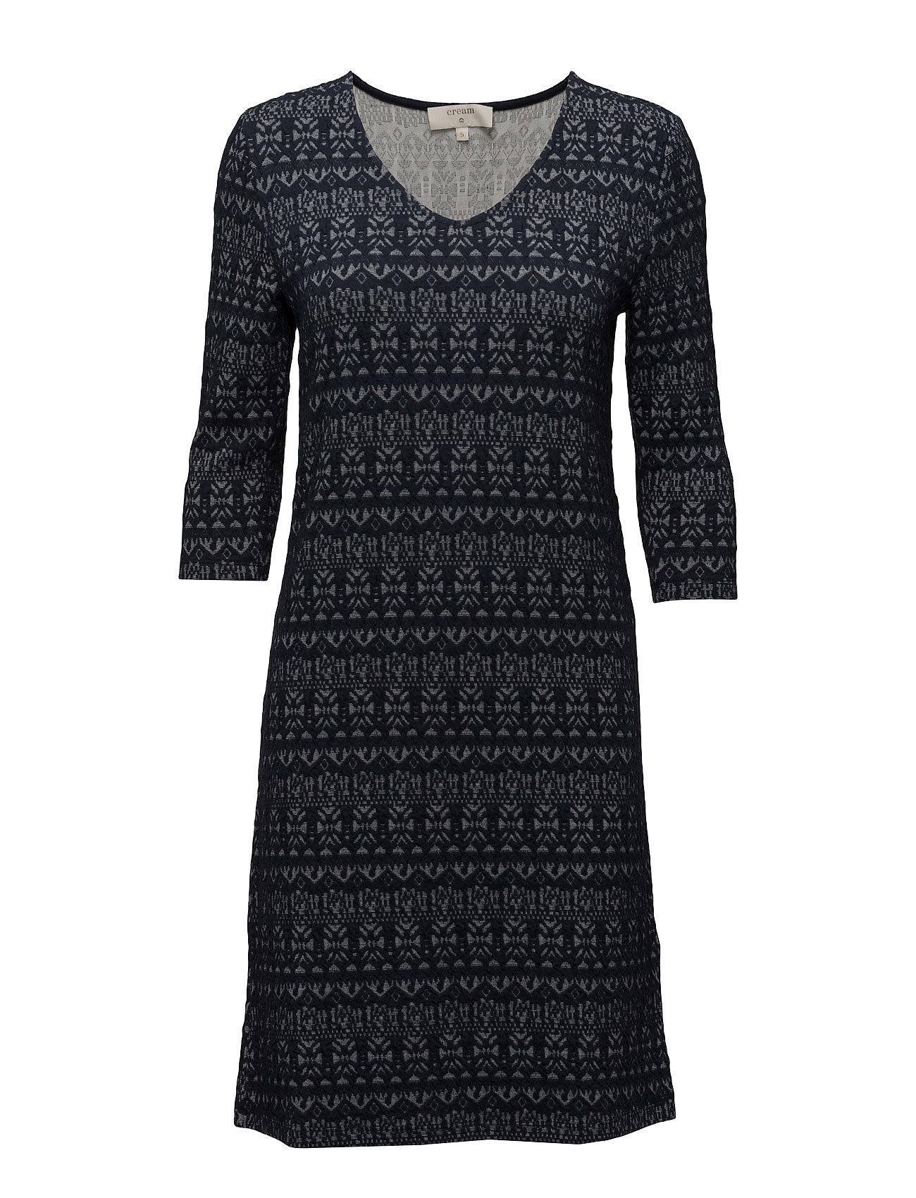 Mira Dress Cream Knælange & mellemlange til Damer i Royal Navy Blå