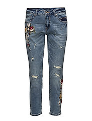 Flower jeans- relax - MEDIUM BLUE DENIM