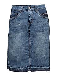 Patched denim Skirt - RICH BLUE DENIM