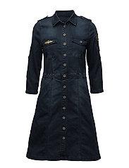 Uniform denim dress - ROYAL NAVY BLUE