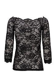 Lilliana 3/4 sleeve blouse - PITCH BLACK