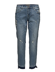 Cara Riped croped - Relaxed fit - MEDIUM BLUE DENIM