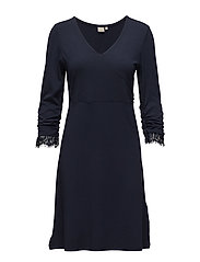 Rosemary solid dress - ROYAL NAVY BLUE