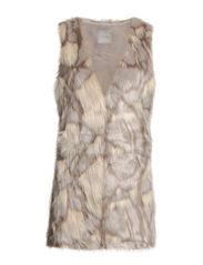 Lil Fur Waitscoat w/o stones - Warm pearl grey/ melange