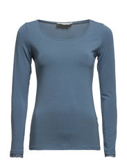 Camille L/S T-shirt- MIN 2 ass - Dull blue